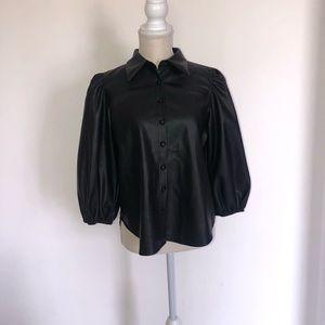 Zara black puff sleeve button down top